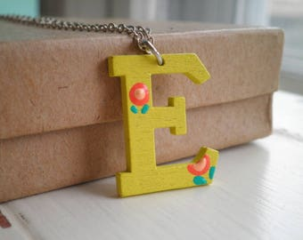 Yellow Letter E Charm Necklace - Hand Painted Wooden E Initial Pendant Personalized Jewelry Gift - Tiny Orange Flowers Floral Charm Necklace