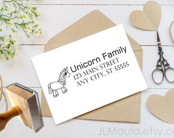 1069 Unicorn Horse JLMould True Love Wedding Custom Personalized Rubber Stamp Wedding Invitations Save the  Date Favors Invitations