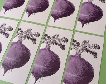 8 BEET GREETING CARDS Farmers Market Letterpress Card a10 size farmers gift garden organic