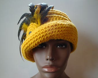 Yellow Gold Cloche Hat with Gold Tip Feathers -Yellow Crochet Hat - Yellow Hat - Crochet Cap - Custom colors available