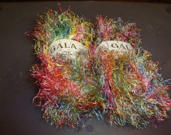 Gala Flok Eyelash Yarn / Pink and Green and Blue/Eyelash Yarn/ Stash Busting/ Destash