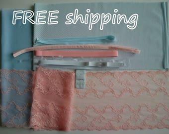 FREE Ship DIY Bra Kit Baby Blue & Baby Pink by Merckwaerdigh