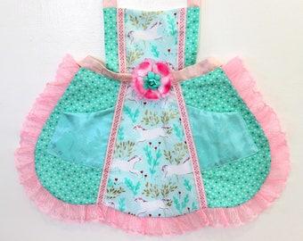 Prancing Unicorns Apron, toddler apron, girls apron