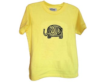 Yellow Elephant Kids Tshirt Size 2 4 6 American Apparel Cotton T2 T4 T6