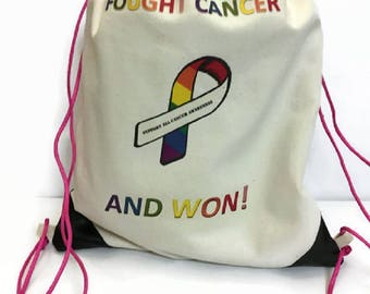 drawstring bag  canvas bag I fought cancer and won gym bag travel light bag