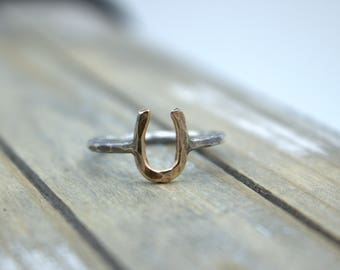 Gold Silver Rustic Horseshoe Ring