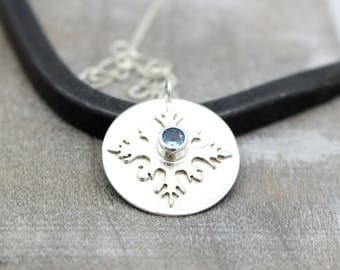 Aquamarine Sterling Silver Snowflake Necklace - Snowflake Charm Necklace