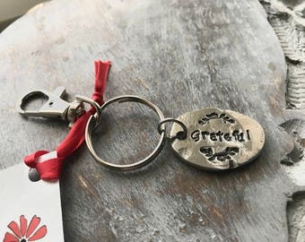 Sale! Grateful Keychain - Grateful Key Chain - Grateful Key Ring -  Hand Stamped