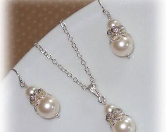 20% OFF Pearl Bridesmaid Jewelry Set Swarovski Rhinestones Necklace Earrings Wedding Bridal Pearls Silver Gold