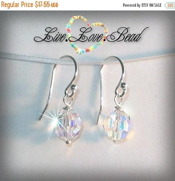 ON SALE 20% OFF Sterling Silver Crystal Drop Earrings