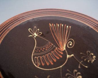 Vintage Pottery Plate - Rooster Pottery -  Rooster Plate - 70's decor - Vintage home decor - Wall Hanging - Chicken - Rooster