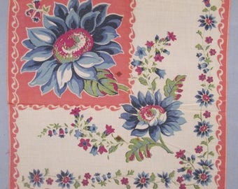 Three Vintage Hankies/ Handkerchiefs - Blue and White - Floral/ Embroidery/ Crochet