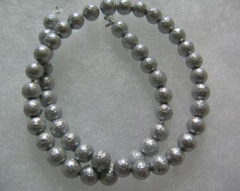 Silver Textured Glass  Beads 4mm  104 Beads per lot