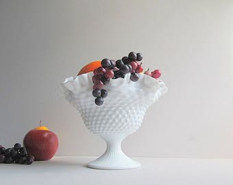 Vintage Large Milk Glass Hobnail Bowl, Fenton Bowl, Milk Glass Hobnail Pedestal Bowl, Wedding Centerpiece, Fruit Bowl, Footed Bowl