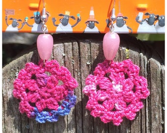 Boho style earrings, pink and blue crochet earrings, bohemian earrings, bohochic, gypsy style