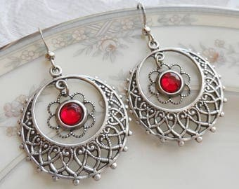 1/2 price sale - Ruby Red Glass Crystal and Silver Ox Filigree Earrings