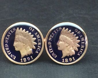 1891 USA coin cufflinks old indian head penny 18mm
