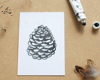 Pinecone lino print