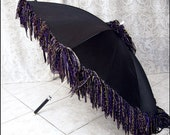 Shimmering Aurora - Revamped Vintage Black Parasol by Kambriel - Black Umbrella with Dramatic Iridescent Purple Edging