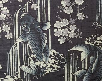 Carp, Waterfall, and Cherry Blossoms Japanese cotton dobby fabric Koi Sakura INDIGO IGA-14240-2C