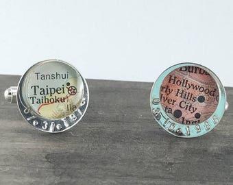 SUMMER SALE Handmade + Custom Hand Stamped Date Sterling Map Cufflinks