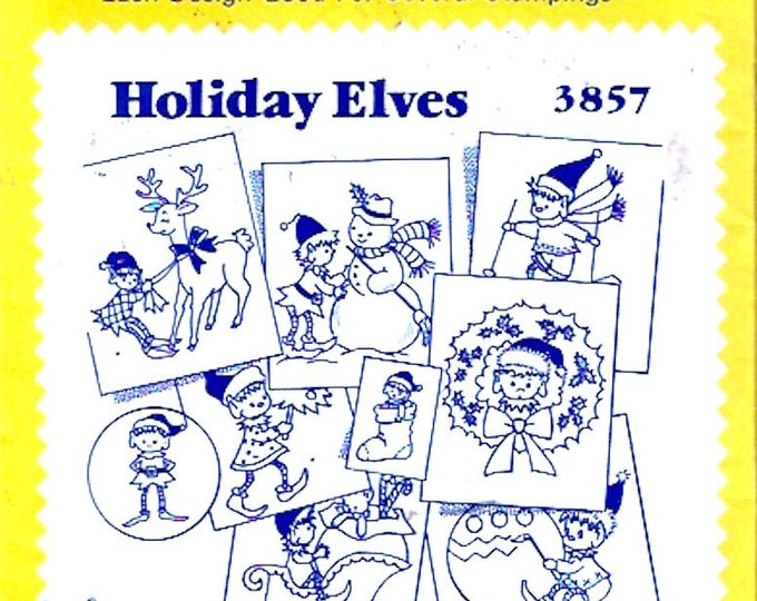 Holiday Elves Christmas hot iron transfers pattern Aunt Marthas 3857 designs Uncut Unopened transfers Embroidery Needlepoint craft supplies
