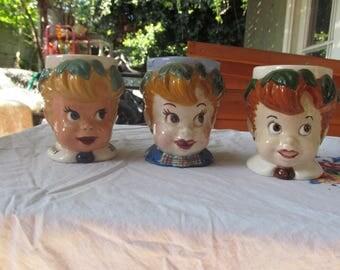 3 vintage kitschy DIY painted peter pan cups, '50s, '60s, cuties