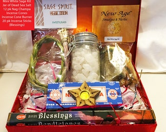 AdorableWitch Gifts! Boxed Altar Kit w/ Sweetgrass, Sage & Incense -Best Holiday Gifts for Witches! -Altar Kits,,Wiccan herbs,witchcraftkits