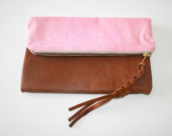 Leather and Cotton Cosmetic Pouch - Peach