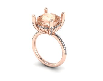 Square Cushion Morganite and Diamond Engagement Ring - Custom Order Link for amandarosegiannone - 4th payment