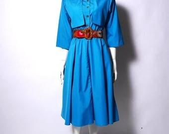 Summer Sale Vintage Trench Dress  // Teal 80s Shirt Dress // Minimal Color Block Dress // Medium //107