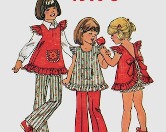 Vintage 1970s Girls Cutest SMOCK Top w/ Ruffles, Open Back Bow Tie, Pants, Panties Simplicity 6910 Childrens Size 4 or 6 Breast 23 or 25