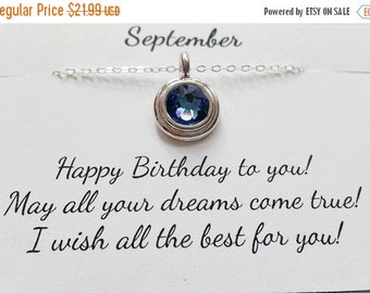 ON-SALE September Birthstone Necklace - Sapphire Sterling Silver Chain Necklace, September Birthday Gift, Birthstone Necklace