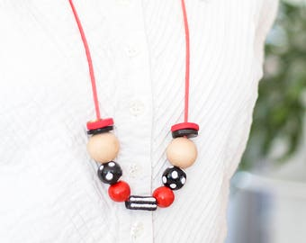 Statement Necklace, Beaded Necklace, Chunky Beads, Modern Necklace, Red and Black Necklace, Hand-made Beads, Stripes and Dots