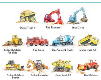 Construction Truck Prints Set of 3 - Trucks - Tractor Print - Dump Trucks - Cement Truck Print - Nursery Wall Decor - Kids Art Prints