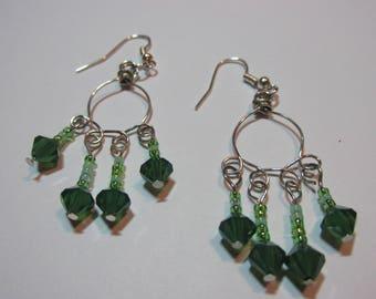 Sparkly Green Swarovski Dangled Earrings