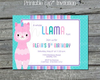 Llamacorn Birthday Invitation    Rainbow Birthday Invite   Llama Party   Pastel Rainbow Decorations   Digital Download   Printable Invite
