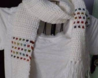 White Scarf with Ribbon Accent