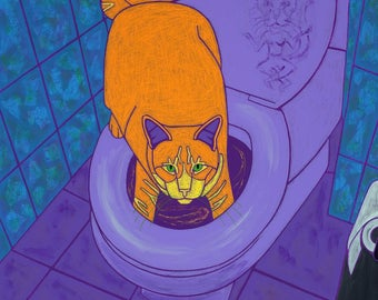 Daredevil Cat Art Print - Humorous Cat Art by Angela Bond