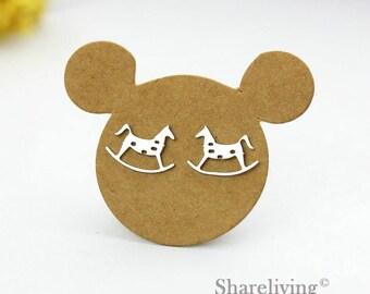 4pcs (2 Pairs) Silver Rocking Horse Stud Earring, Silver Post Earring Dual-used Rocking Horse Earring - ED202G