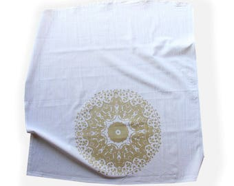 Metallic Gold and White Mandala Tea Towel - Boho Style Decor - Mandala Tapestry - Gold and White Kitchen Decor - Hostess Gift