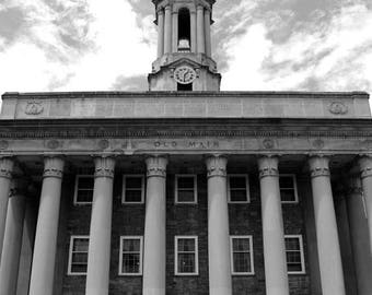 50% OFF SALE Black and White Penn State Photo, Old Main 1, Graduation, Large Wall Art, PSU, Architecture, Nittany Lions, 20x24 inch Art Prin