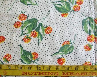 Vintage Floral uncut FEEDSACK Fabric 1940s Polka dot Flower Print Quilting Craft Sewing Cotton 38x46