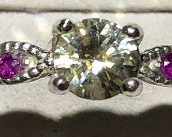 Light yellow sapphire and ruby ring size 7
