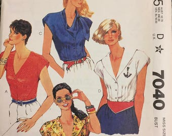 80's McCall's 7229 Misses' Blouses  size 12 Bust 34 inches  Uncut Complete Sewing Pattern