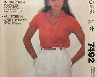 80's Misses' Button Shirt McCall's 7492 Sewing Pattern  Bust 30-42 inches  Uncut Complete Sewing Pattern