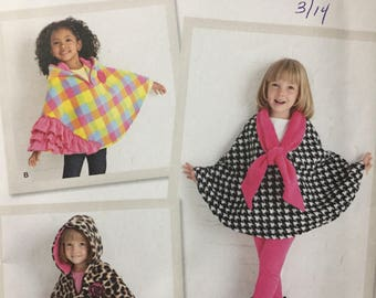 Girls' Ponchos Sewing Pattern Simplicity 1706  Uncut Complete S-L Size 3-8