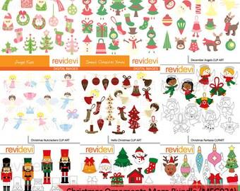 Christmas ornaments big mega bundle clipart - christmas clipart - angels, christmas trees, santa - digital download