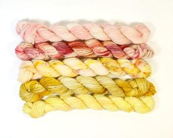 custard tart .. 4 ply, 12ply mixed set hand dyed wool yarn, mini skein, soft, knitting weaving yarn, hand dyed sock yarn