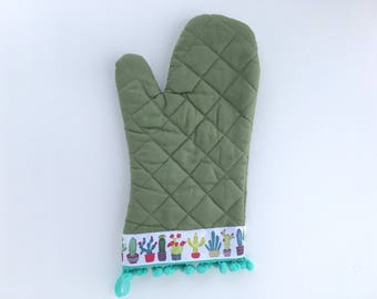 Designer Oven Mitt. Fancy Kitchen Pot Holder. Cute Cactus Baking Glove. Mint Pom Poms. Mother's Day Gift. Gifts for Her Under 50.